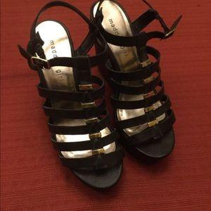 Madden Girl Wedges Black/Gold Size 8